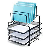 8 tier file tray - Bonsaii Desk Organizer with 3-Tier Letter File Tray and 5 Stacking Sorter Section,Mesh File Office Organizer,Black(W6428)