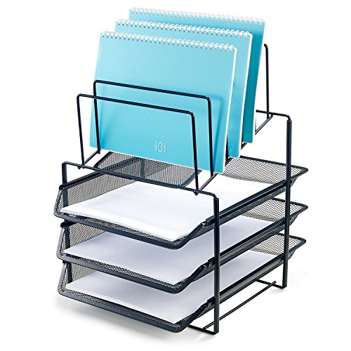 Steel 3 Compartment Desk Drawer - Bonsaii Desk Organizer with 3-Tier Letter File Tray and 5 Stacking Sorter Section,Mesh File Office Organizer,Black (W6428)