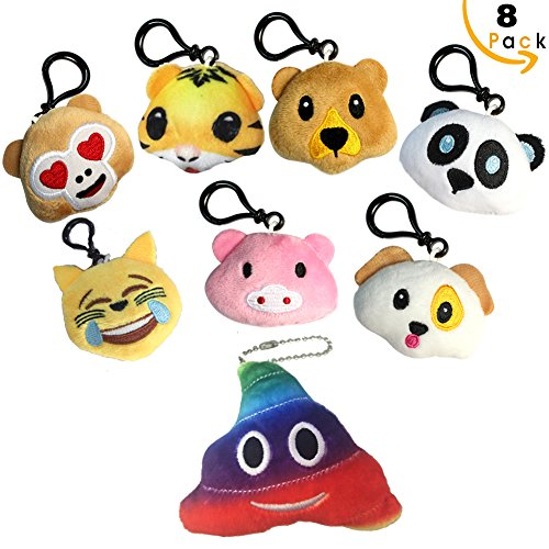 Emoji Keychain Mini Pillow Stuffed Animals Plush Toys Assortment for Safari Party Supplies Favors, Birthday Party, Home Decoration, Carnival Prizes, Classroom Rewards and More