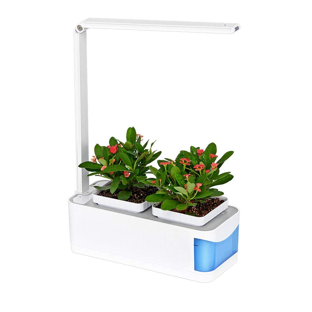 Indoor Hydroponics Herb Growing Lamp, Hydroponics Growing System, Automatically Adjust Brightness Desk Lamp for Reading, Smart Garden Kit with 2 Gardening Pots for Plant (seeds not include) (Blue) YOSTAR