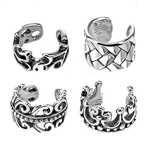 (MoBody 4 Piece Non Piercing Adjustable Ear Cuff Earring Set Unique Cartilage Helix Girls Earrings)