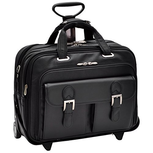 "Siamod Ceresola Rolling Leather 17"" Laptop Bag - Black by Siamod"