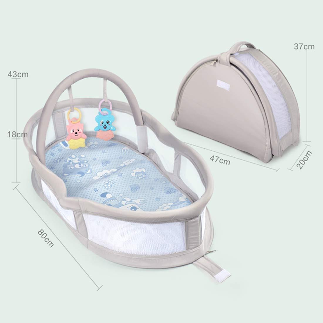 47 * 43 * 80cm Schlafkorb Baby mit Matratze TETAKE Reisebett Baby Babybett mit Bogen