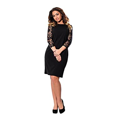 VENMO Plus Size Lace Cocktail Party Dresses With Sleeves Knee Length Floral Ball Prom Formal Dress