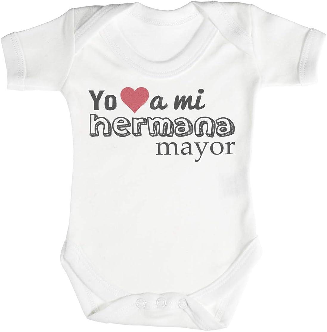 Spoilt Rotten SR - Yo (Heart Shape) a mi Hermana Mayor Camisillas para bebé - Body para bebé niño - Body para bebé niña - Gris