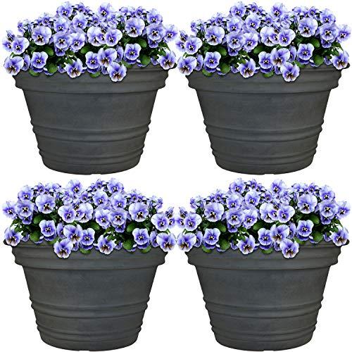 Sunnydaze Victoria Flower Pot Planter, Outdoor/Indoor Heavy-Duty Double-Walled Polyresin, Fade-Resistant, Set of 4, 16-Inch Diameter ()