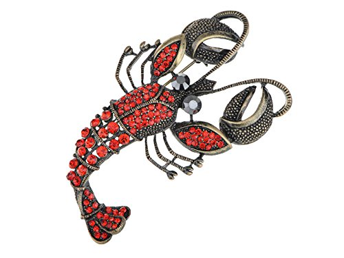 Alilang Vintage Inspired Repro Crystal Rhinestone Lobster Fashion Jewelry Pin Brooch