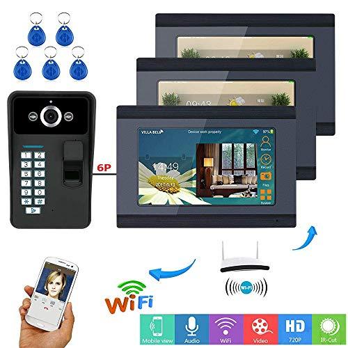 TQ 7 inch Intelligent Video doorbell WiFi Fingerprint RFID Password Video Door Phone doorbell intercom System HD 1000TVL ()