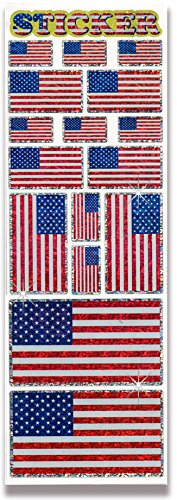 AoneFun 1 Jumbo Sheet - 16 Pieces - USA Flag Stickers - American Flag Stickers - USA Flag Decals - USA Flag Seals - Shiny Prism Stickers - Sparkle Stickers - Patriotic Stickers - Prism Decal