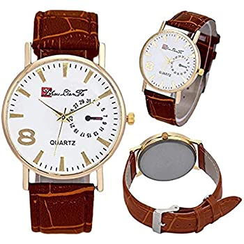 Windoson Men Quartz Watch Analog Business Casual Fashion Wrist Watch Mens Leather Watch (Brown)