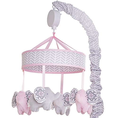 Wendy Bellissimo Baby Mobile Crib Mobile Musical Mobile - Elephant Mobile from The Elodie Collection in Pink and Grey ()