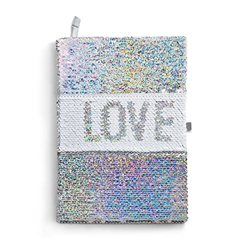 Magic Sequin Journal Where L0VE Changes to LlFE with Color Changing Flip Sequins - Pure White Sequin Notebook Reverses to Dazzling Rainbow/Mermaid Silver - Perfect Gift for Girls and Teens (Rainbow Journal Paper)