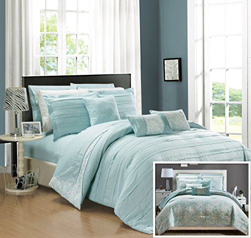 (Chic Home CS2418 10 Piece Lea Complete Pleated Ruffles and Reversible Printed King Bed in a Bag Comforter Set Aqua Sheets Included)