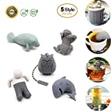 5 Pack Cute Silicone Animal Funny Tea Infuser for Loose Leaf Tea Strainer,BPA-Free Tea Strainers Handle Stainless Packed in Box for Travel Mug Bottle Easy To Use And To Clean, Non-Toxic