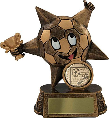 Kids Smiley Face Star Football Trophy,Award,110mm,Antique Gold,FREE Engraving (RST513)sdl by Trophy (Gold Figure Trophy)