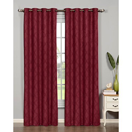 Bella Luna Newbury Lattice Room Darkening 76 x 84 in. Grommet Curtain Panel Pair, Brick (Colored Curtains Brick)