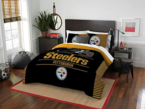 Pittsburgh Steelers - 3 Piece FULL / QUEEN Size Printed Comforter Set - Entire Set Includes: 1 Full / Queen Comforter (86