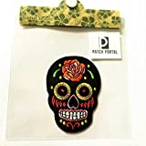 Black Sugar Skull Candy 3.5'' Mexican Style Biker Motorcycle Day of The Dead Aztec Orange Flower Mexico Embroidered Sew Iron On Trendy Embroidery Pattern Applique for Shirts Jeans Jackets Backpacks