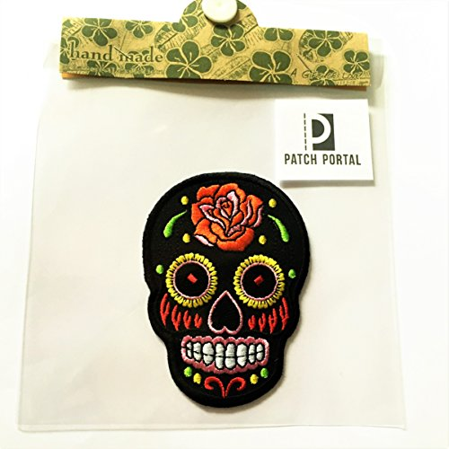 Black Sugar Skull Candy 3.5'' Mexican Style Biker Motorcycle Day of The Dead Aztec Orange Flower Mexico Embroidered Sew Iron On Trendy Embroidery Pattern Applique for Shirts Jeans Jackets Backpacks by Patch Portal