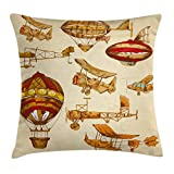 Aviation Throw Pillow Cushion Cover by Ambesonne, Vintage Old Flying Objects Hot Baloons Planes Parachutes Print, Decorative Square Accent Pillow Case, 20 X 20 Inches, Sand Brown Apricot Mustard Red