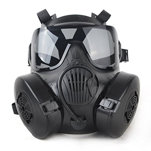 Tactical Paintball Full Face Mask M50 Adjustable Strap with 2 Breathable Fans (Black)