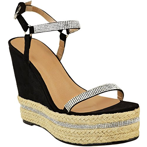 Fashion Size Ladies Sparkly Platforms Wedge Strappy Black Womens Heels Suede Shoes Heelberry® Thirsty Faux Diamante New High UxfTpU