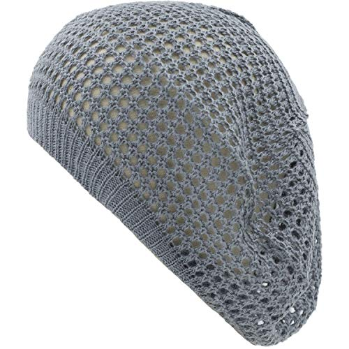 an Womens Dark Gray Cut Out Beanie Hat Fashion Beret Cap Mesh - Ladies Knitted Mesh Hat