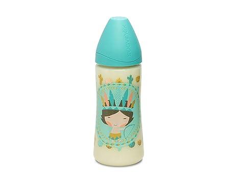 Suavinex 303133 - Biberón tetina papilla de silicona, 360 ml, indios, color azul
