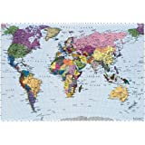 Environmental graphics giant world map wall mural dry erase brewster 4 050 world map 4 panel mural with paste 8 foot 10 gumiabroncs Choice Image