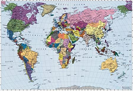 World Map Wallpaper Mural Amazoncouk DIY Tools