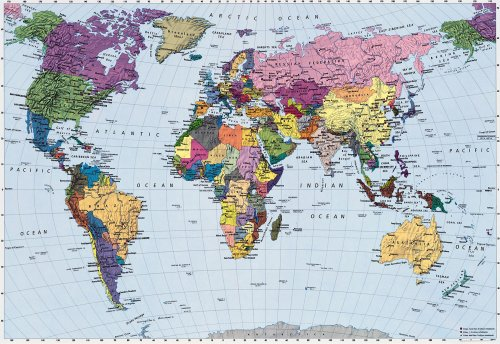 Brewster 4-050 World Map 4 Panel Mural with Paste, 8-Foot 10-Inch by 6-Foot (8 Panel Mural)