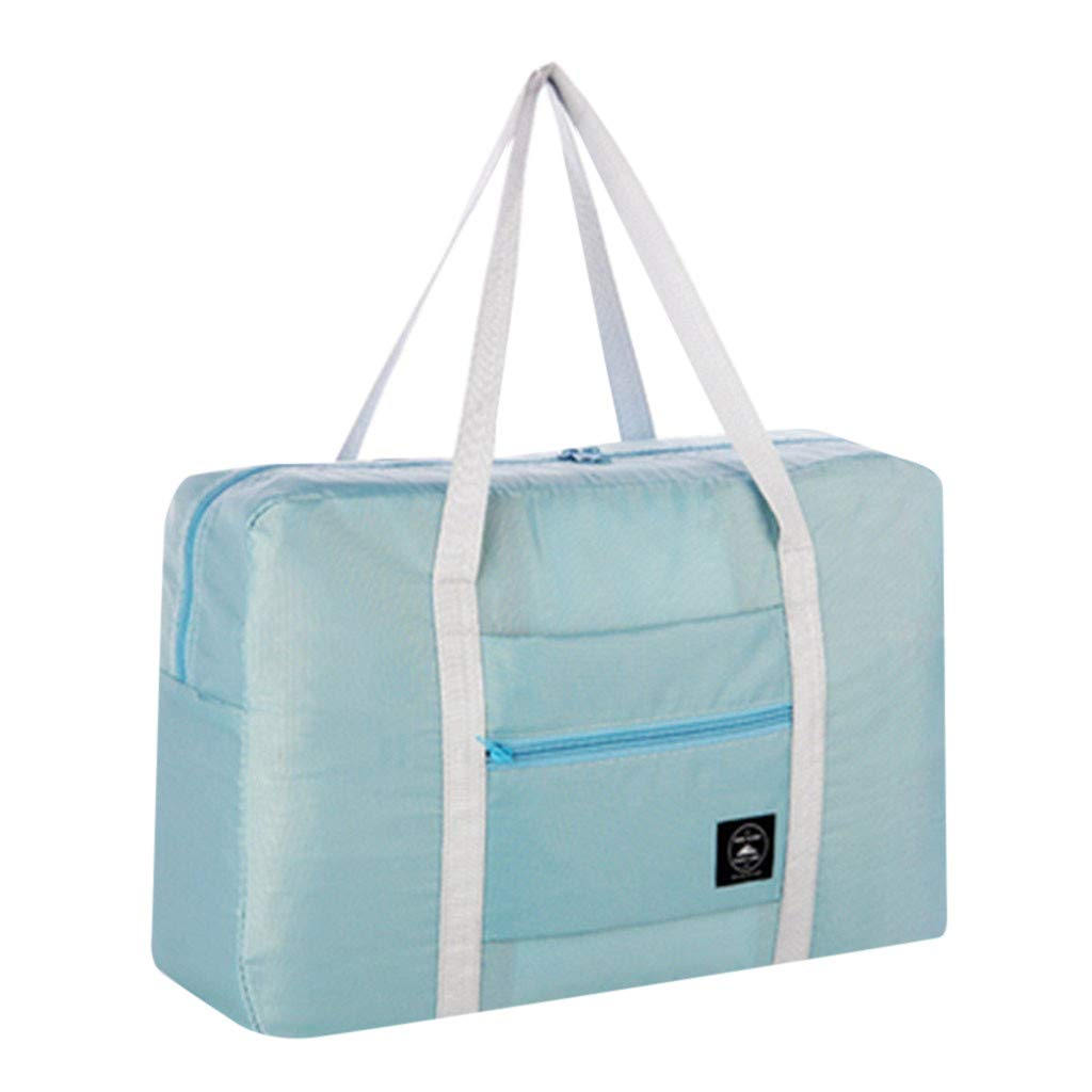 Onegirl Large Travel Foldable Duffel Bag for Women & Men, Waterproof Lightweight Luggage Handbag Shoulder Bag Storage Containers Travel Luggage bag for Sports, Gym, Vacation (Light blue)