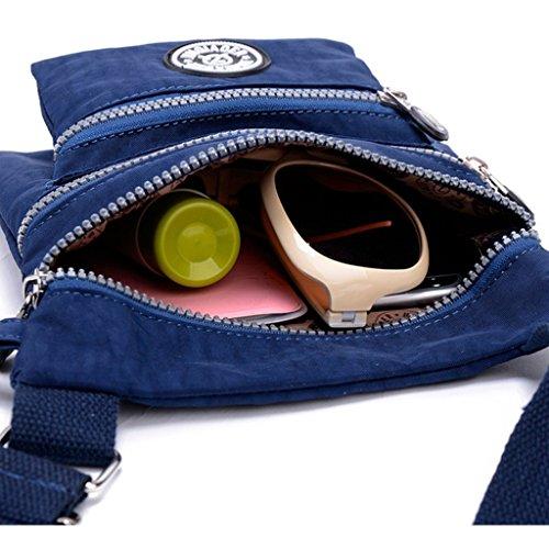 tianhengyi Nylon resistente de agua pequeño bolso bandolera bolsa de hombro multilayers Azul marino