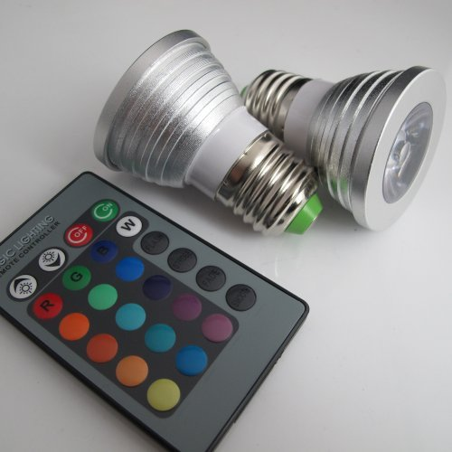 360deal Magic Lighting 2 Pack LED Light Bulb & Remote w/ 16 Different Colors And 5 Modes (Lighting Magic Remote)