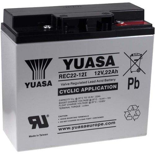YUASA Ersatzakku für Notbeleuchtung Alarmanlagen 12V 22Ah zyklenfest, 12V, Lead-Acid