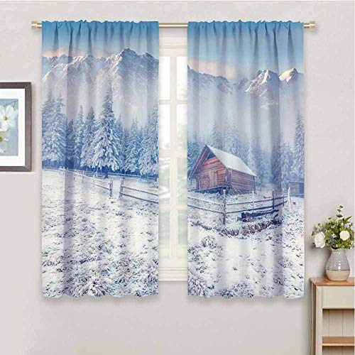 Winter Soundproof Insulated Blackout Curtains Old Farmhouse in Snow Season Mountains and Frosted Forest Rustic Life Photography Drape for Party Decoration W72 x L108 Inch