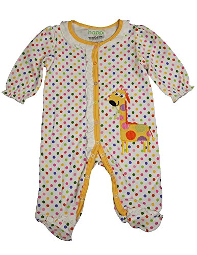 Happi by Dena - Baby Girls Long Sleeve Footed Coverall, Yellow, White 34828-0-3Months ()