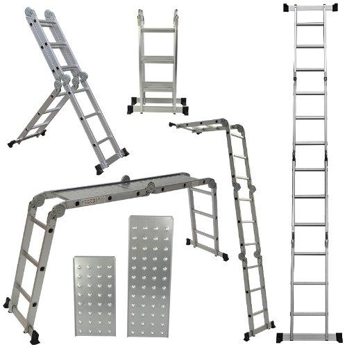 Folding Aluminum Ladder (ARKSEN 12.5-feet Aluminum Ladder EN131 Platform Multi-Purpose Extension Multi-Task Folding Light Weight (2 FREE Plate))