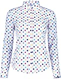 KIMIST Women's Tops Feminine Long Sleeve Polka Dotted Button Down Casual Dress Blouses Shirts (Beige White, X-Large)
