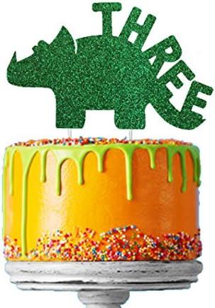 Admirable Lissielou Boys 3Rd Birthday Dinosaur Cake Topper In Glittery Personalised Birthday Cards Beptaeletsinfo