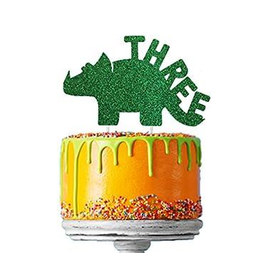 LissieLou Dinosaur 3rd Birthday Cake Topper