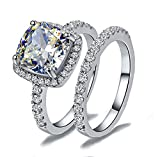 Venetia Top Grade Supreme Princess Cushion Cut 2.0 Carats NSCD Simulated Diamond Ring Band 2 Pcs Set Platinum Plated 925 Silver Realistic White Fire Sparkles swarovski cubic zirconia cz crystal (8)