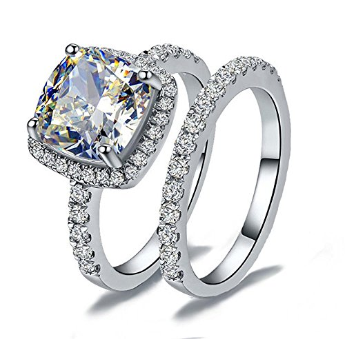 Venetia Top Grade Supreme Princess Cushion Cut 2.0 Carats NSCD Simulated Diamond Ring Band 2 Pcs Set Platinum Plated 925 Silver Realistic White Fire Sparkles swarovski cubic zirconia cz crystal (8) by VenetiaDiamond.com