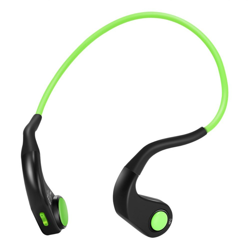 Trcode Bone Conduction Headphones Wireless Titanium with High Sound Quality Stereo,Z9 Open Ear Sport Bone Conduction Headphones Bluetooth with Microphone for Running and Driving(Black Green) by Trcode