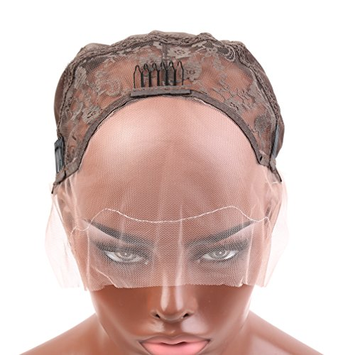 Bella Hair Undetectable Swiss Lace Front Wig Cap for Making Wigs with Adjustable Straps and Combs Large Size Skin Color Dark Brown ()
