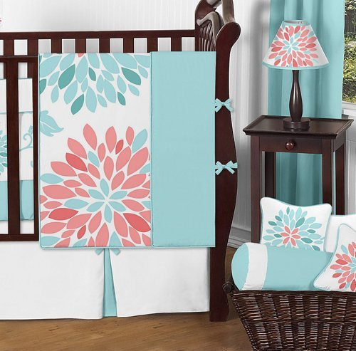 Sweet Jojo Designs Unique Turquoise Blue and Coral Emma Baby Girls 9 Piece Floral Modern Crib Bedding Set