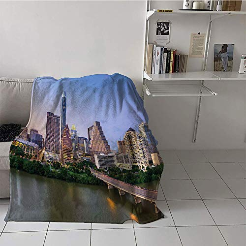 Custom homelife Children's Blanket Stroller Print Summer Quilt Comforter (30 by 50 Inch,Modern,Austin Texas American City Bridge Over The Lake Skyscrapers USA Downtown Picture,Multicolor