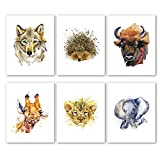 Nursery Animals Prints Set of 6 (10'X8'Baby Safari Prints Woodland Animals Canvas Art Print Poster Kids Room Wall Pictures for Bedroom Home Decor, No Frame