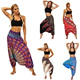 vermers Clearance Women Yoga Trousers - Casual Summer Loose Baggy Boho Aladdin Jumpsuit Harem Pants(Free Size, Purple)