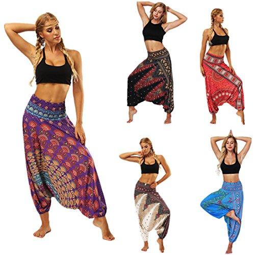 vermers Clearance Women Yoga Trousers - Casual Summer Loose Baggy Boho Aladdin Jumpsuit Harem Pants(Free Size, Purple)